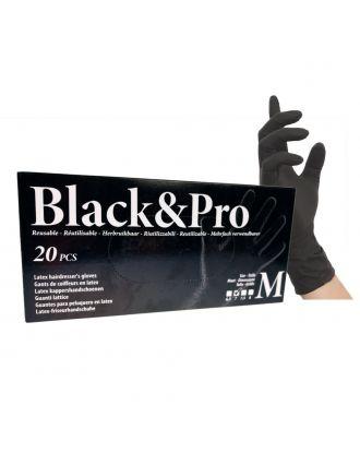 Professional  Sibel Black&Pro Latex Gloves 20 sztuk - profesjonalne rękawiczki lateksowe wielokrotnego użytku, bezpudrowe czarne