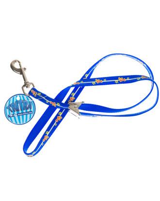 Smycz groomerska nylonowa Tritra - niebieska w łapki i kości, 44cm/10mm