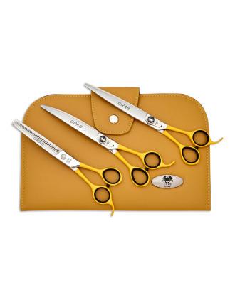 """Geib Crab Scissors Set Level 1 7,5"""" - zestaw profesjonalnych nożyczek i degażówek z japońskiej stali nierdzewnej, 3 sztuki"""