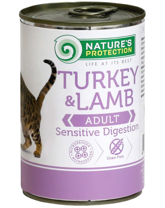 Nature's Protection Cat Sensitive Digestion Turkey & Lamb - Karma mokra dla dorosłych kotów  z wrażliwym przewodem pokarmowym z indykiem i jagnięciną