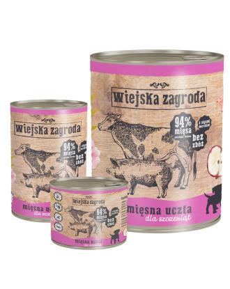 Wiejska Zagroda Puppies Mięsna Uczta - pełnowartościowa bezzbożowa i bezglutenowa mokra karma dla szczeniąt