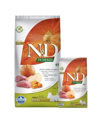Farmina N&D Pumpkin Boar & Apple Adult Mini - pełnowartościowa, bezzbożowa karma dla dorosłych psów małych ras, z dynią, dzikiem i jabłkiem