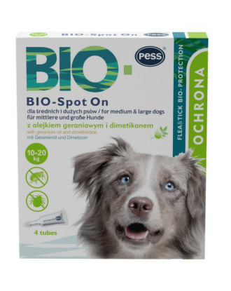 Pess Bio-Spot On Geranium Oil 10-20kg - naturalne krople na pchły i kleszcze dla średnich i dużych psów