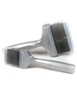 ActiVet Pro Brush Silver Coat Grabber - twarda, dwustronna i elastyczna szczotka do szybkiego usuwania podszerstka oraz do czesania ras z długim i grubym włosem