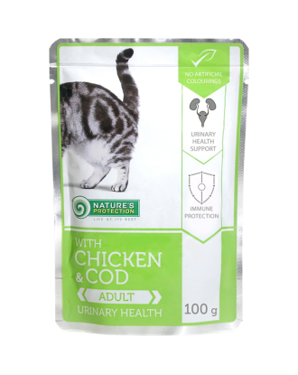 Nature's Protection Adult Cat Chicken & Cod Urinary health  - Karma mokra dla kotów z kurczakiem i dorszem 100g