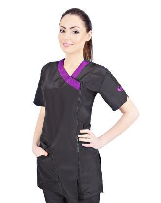 Groom Professional Rimini - wygodna bluza groomerska z fioletowymi dodatkami