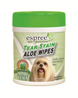 Espree Tear Stain Aloe Wipes 60 szt - chusteczki do usuwania zażółceń z okolic oczu i pyszczka
