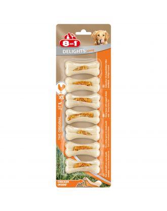 8in1 Delights Strong Bones XS - prasowane kości dla psa, z kurczakiem w środku