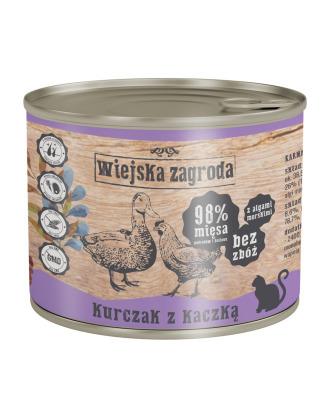 Wiejska Zagroda Kurczak z Kaczką - pełnowartościowa mokra karma dla kotów dorosłych