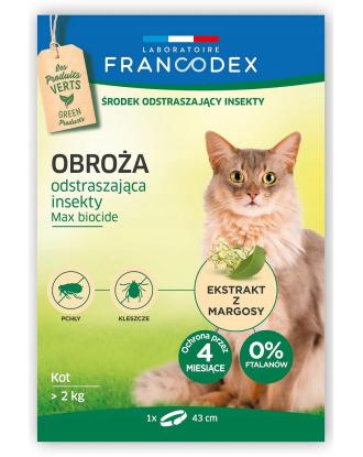 Francodex Repellent Colar - obroża przeciw insektom dla kotów powyżej 2 kg (43cm)
