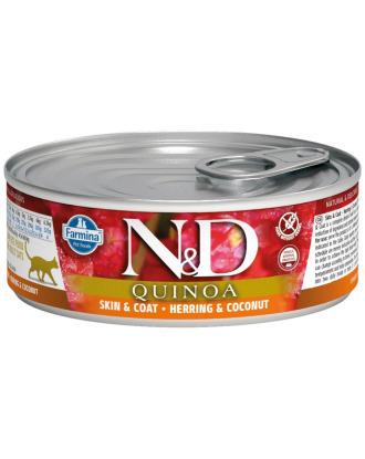 Farmina ND Quinoa Skin & Coat Cat Herring & Coconut 80g - bezzbożowa karma dla dorosłych kotów z problemami skórnymi, ze śledziem, komosą ryżową i kokosem