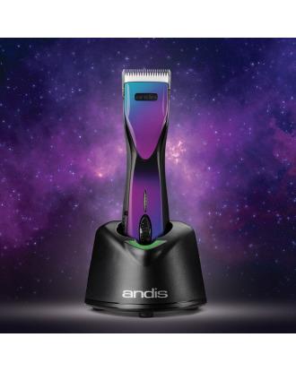 Andis Pulse ZR II Purple Galaxy - profesjonalna maszynka bezprzewodowa, 5-biegowa z dwoma akumulatorami i ostrzem CeramicEdge nr 10 (1,5mm) w limitowanym kolorze
