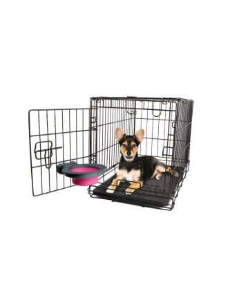 Dexas Collapsible Kennel Bowl Small 240 ml - składana, silikonowa miska do klatki, fioletowa