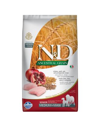 Farmina N&D Ancestral Grain Chicken & Pomegrante Senior Medium & Maxi 2,5kg - pełnowartościowa, wysokobiałkowa karma dla psów w podeszłym wieku,  średnich i dużych ras, z prazbożami, kurczakiem i granatem