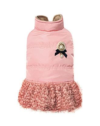 Dobaz elegancka kurteczka z broszką i spódniczką, pudrowy róż