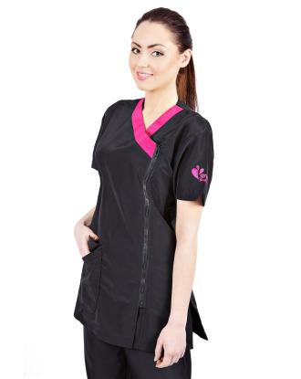Groom Professional Rimini - wygodna bluza groomerska z różowymi dodatkami