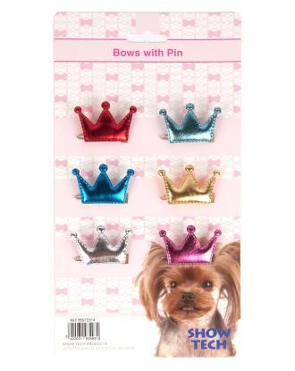 Show Tech Royal Bows 6 szt. - urocze kokardki na spince w kształcie korony