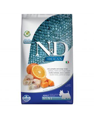Farmina ND Ocean Cod Pumpkin & Orange Adult Mni 2,5kg -  pełnowartościowa, bezzbożowa karma dla dorosłych  psów małych ras, z dorszem, dynią i pomarańczami