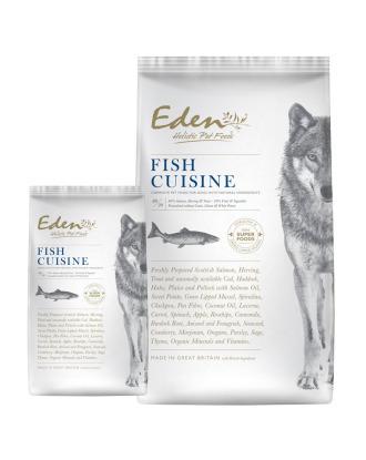 Eden Fish Cuisine Salmon, Herring & Trout, Size S - pełnowartościowa karma dla psów małych ras, bezzbożowa i bezglutenowa, wspiera układ moczowy i pokarmowy, z łososiem, śledziem oraz pstrągiem