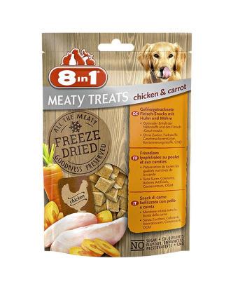 8in1 Meaty Treats Chicken and Carrot 50g - liofilizowany przysmak dla psów z kurczakiem i marchewką