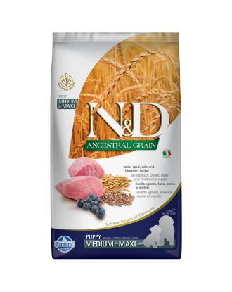Farmina N&D Ancestral Grain Lamb & Blueberry Puppy Medium & Maxi 2,5kg - pełnowartościowa karma dla szczeniąt średnich i dużych ras, z prazbożami, jagnięciną i borówkami