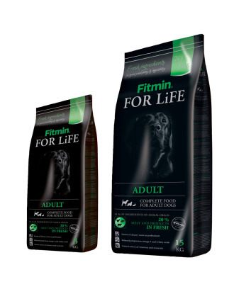 Fitmin For Life Dog Adult - kompletna, pełnowartościowa karma dla dorosłych psów wszystkich ras, z drobiem, wieprzowiną i wołowiną