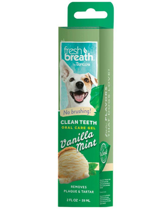 Tropiclean Fresh Breath Clean Teeth Gel Vanilla Mint 59ml - żel do higieny jamy ustnej psów, o zapachu wanilii i mięty