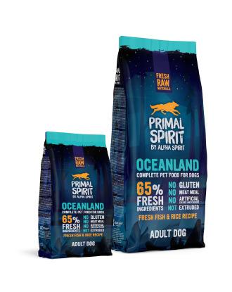 Primal Spirit 65% Oceanland - pełnoporcjowa, bezglutenowa karma dla dorosłych psów, z ryżem i rybami