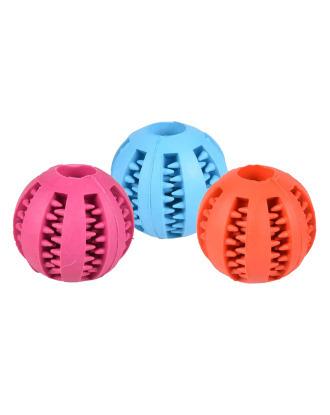 Flamingo Rubber Dental Ball 7cm - piłka z otworem na smakołyki i wypustkami masującymi zęby i dziąsła