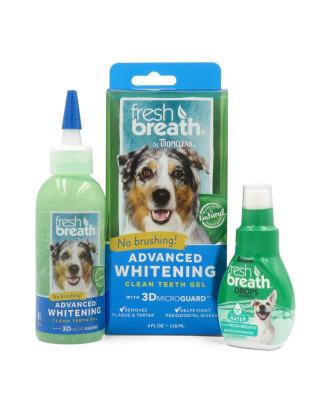 Zestaw Tropiclean Advanced Whitening Gel 118ml + Fresh Breath Drops 65ml-  żel wybielający do pielęgnacji zębów i dziąseł dla psów i kotów + krople do wody